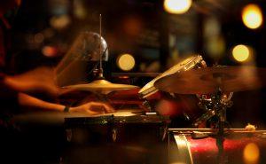 Jazz drummer in a nightclub