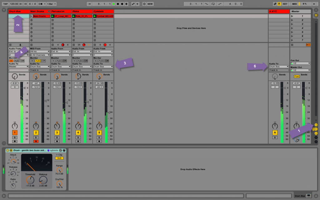 Buses vs groups in Ableton: my drum bus, which I send all of my drum tracks/channels through
