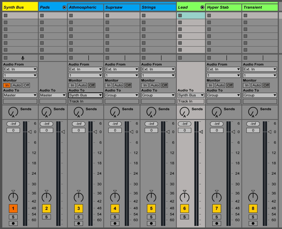 Create a bus in Ableton to EQ or compress a group of elements all together