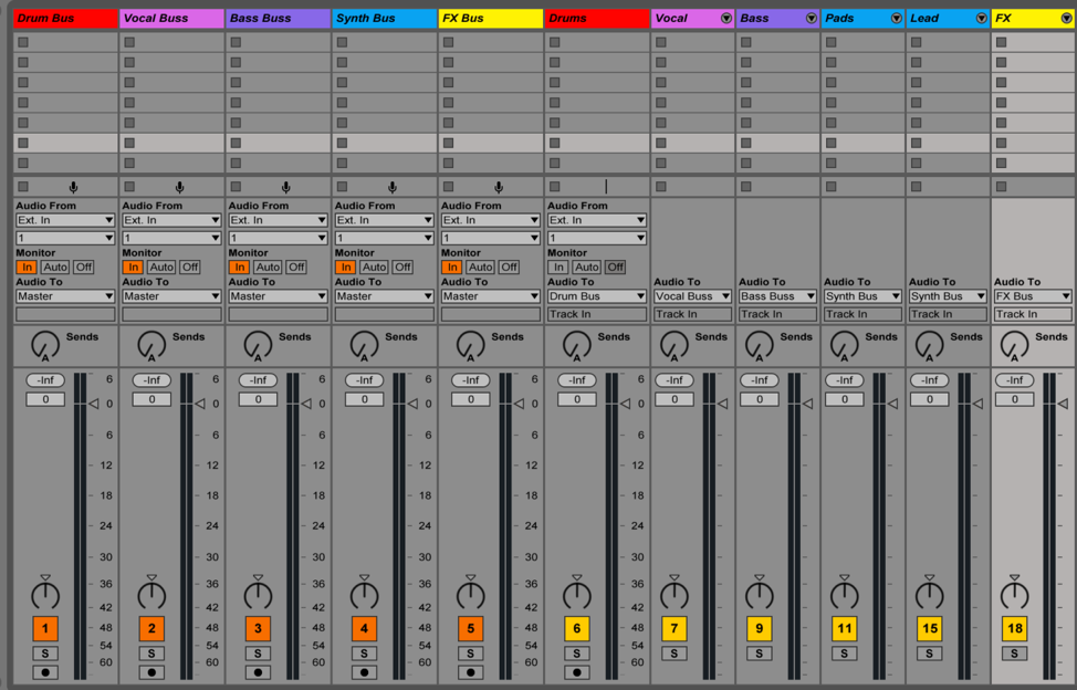 When I'm mixing, I'll even create individual buses for every group of tracks