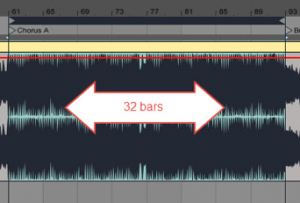 In dance music, sections begin and end every 8 to 32 bars.