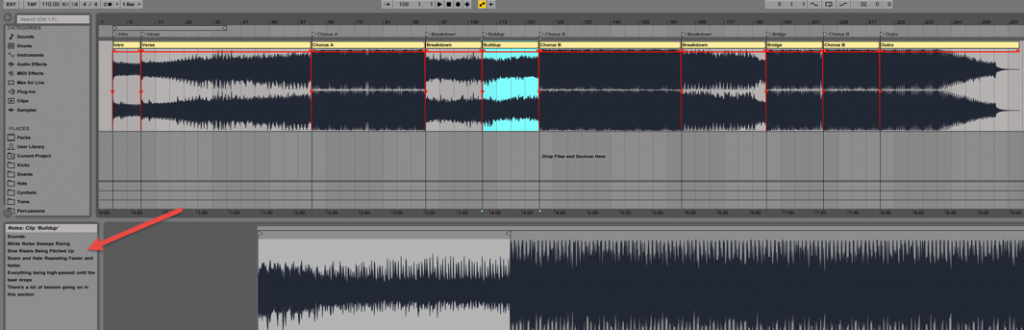 In Ableton, you can save notes directly in the clips
