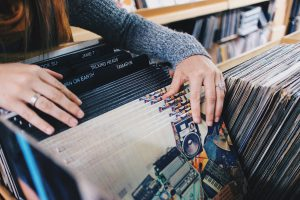 vinyl records, store, shopping