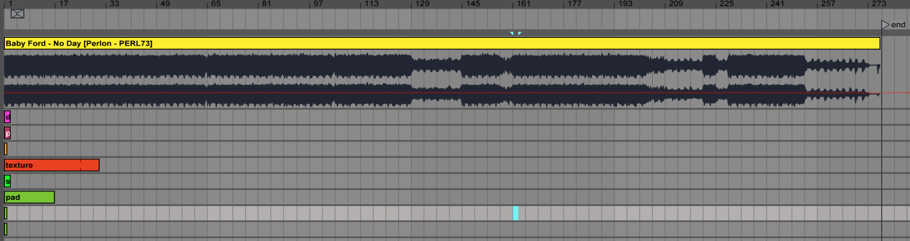 From loop to finished track: screenshot of track in Ableton