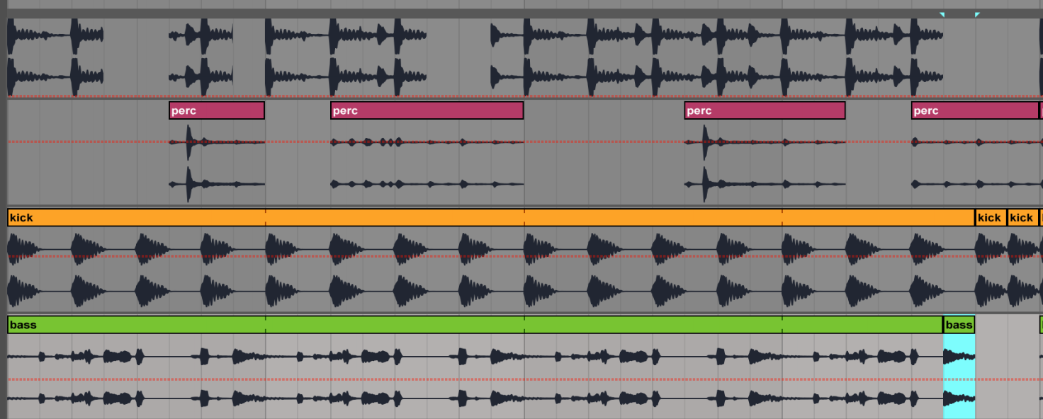 turning loops into finished tracks: screenshot of loop replicated over 4 bars