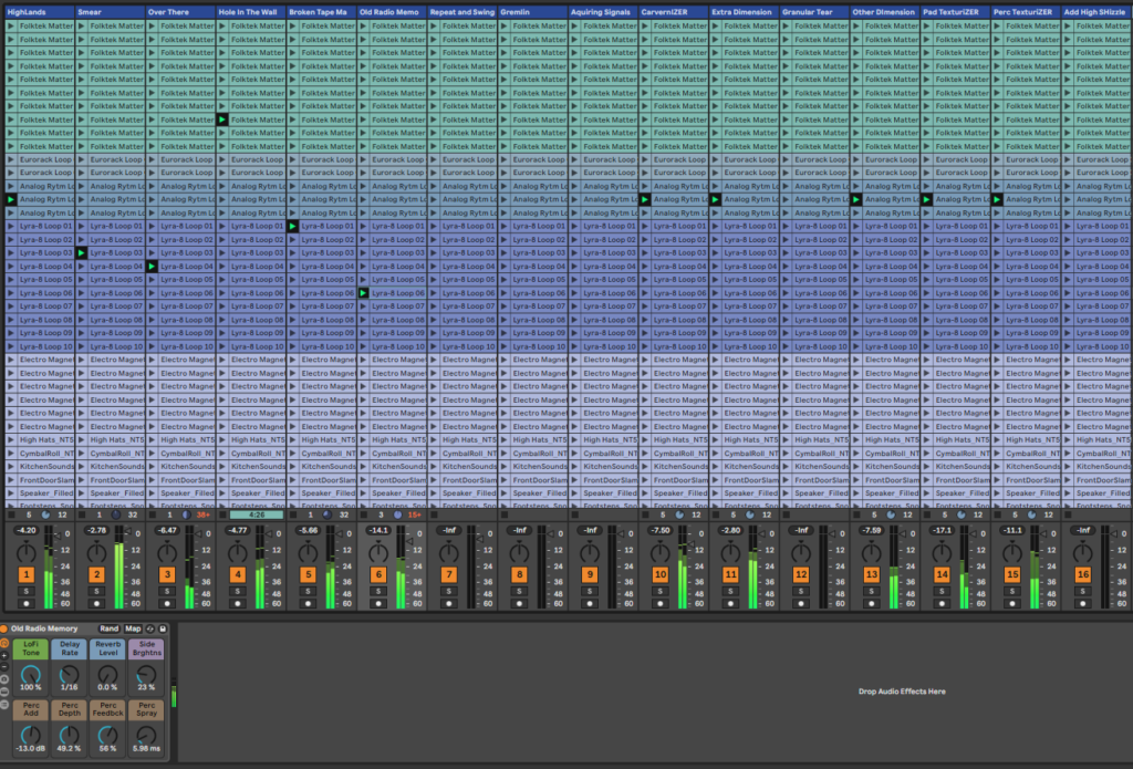 Session view of a minimal house Ableton template