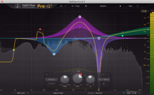 A picture of one of the best equalizers for electronic music, in my opinion, the Fabfilter Pro Q 3