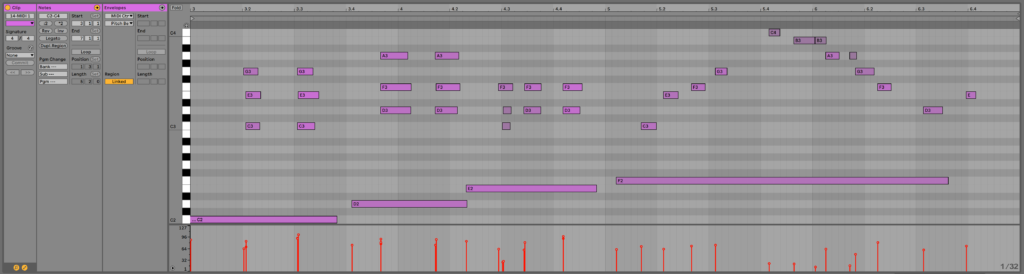 A photo of Ableton MIDI clip, which can be a great generative sequencer.