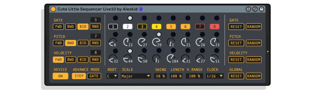 An image of the Cute Little Sequencer, a great generative sequencer