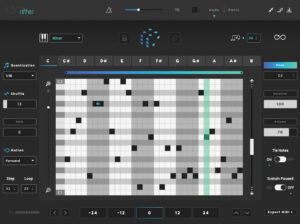 A photo of Riffer. This is one of the best generative sequencers for melodies.